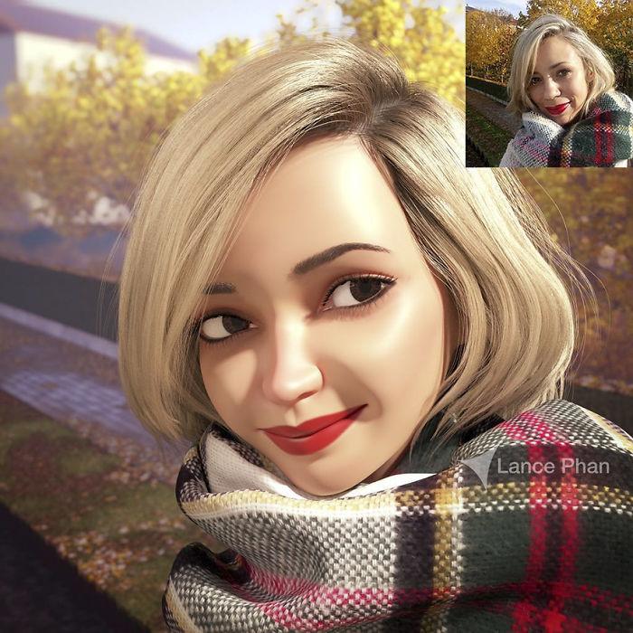 artista traforma ritratti in personaggi stile pixar 09