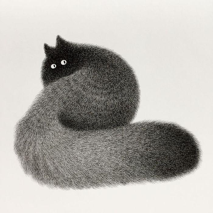 01 gatti disegnati con la china