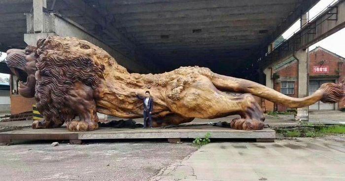 01 leone intagliato nel legno più lungo al mondo