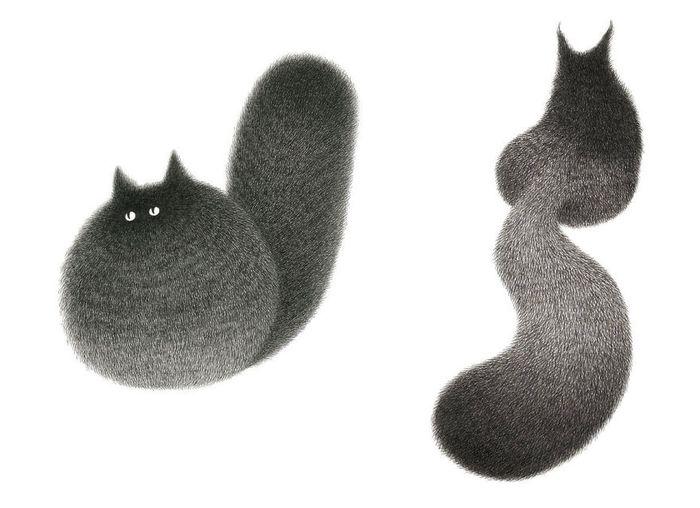 02 gatti disegnati con la china