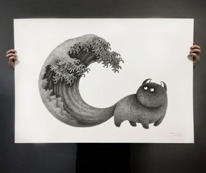 03 gatti disegnati con la china