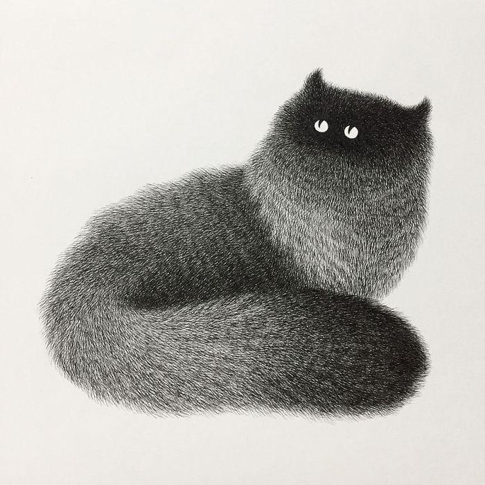 05 gatti disegnati con la china