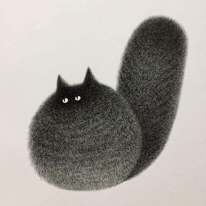 06 gatti disegnati con la china