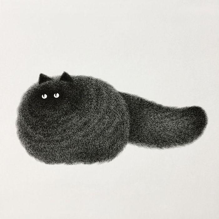 09 gatti disegnati con la china