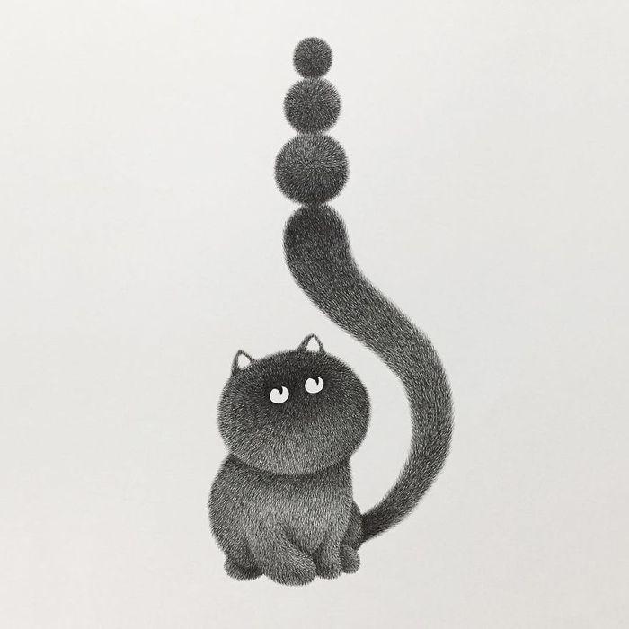 12 gatti disegnati con la china