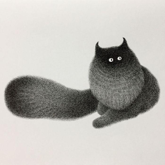 13 gatti disegnati con la china