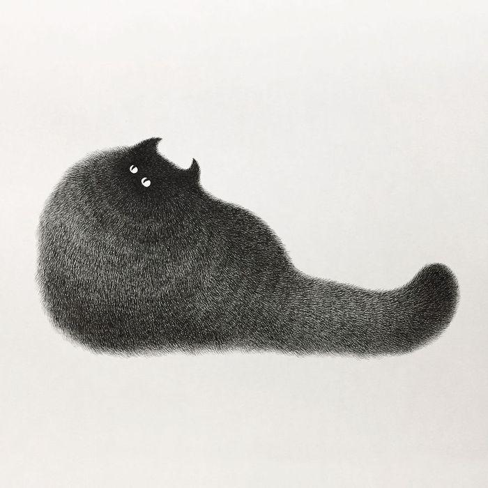 15 gatti disegnati con la china
