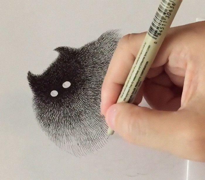 16 gatti disegnati con la china