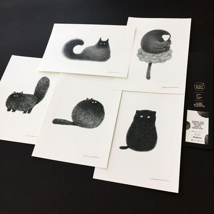 18 gatti disegnati con la china