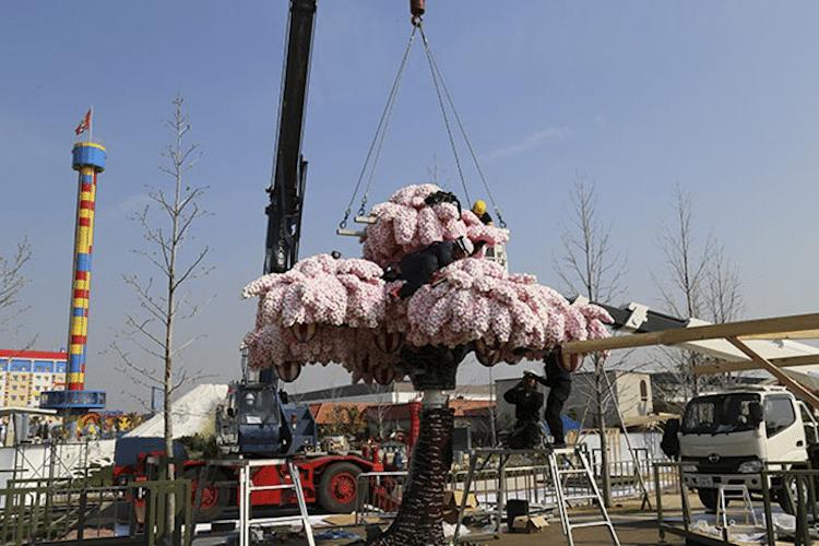 06 albero di ciliegio in fiore composto da oltre 800.000 matt