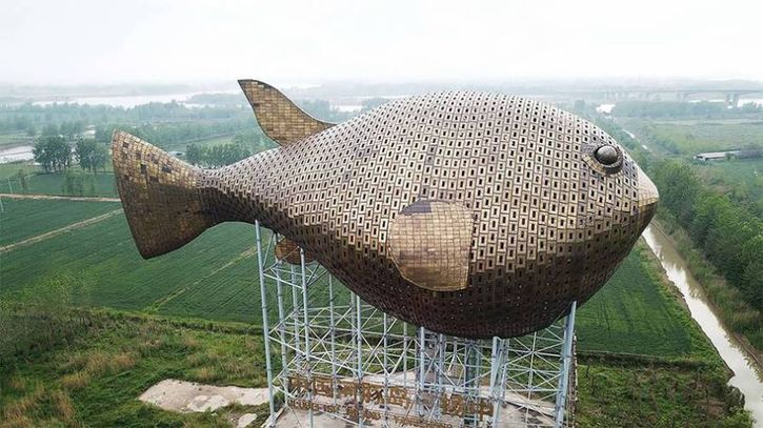 Un gigantesco pesce palla a difesa della sua estinzione